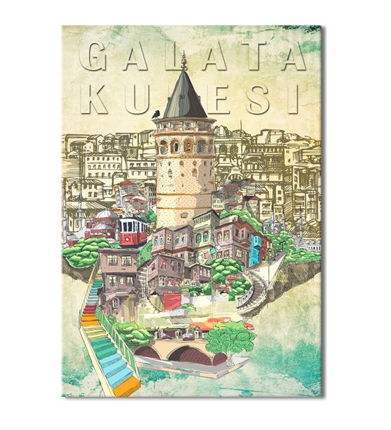 Nostalji Galata Serisi B Kanvas Tablo 75x100 cm