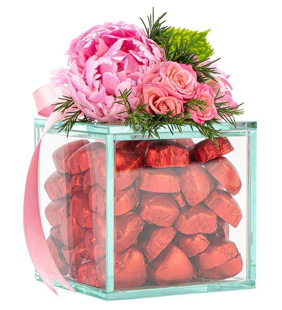 Nude Serisi Yaldızlı Kalp Çikolata - Kırmızı