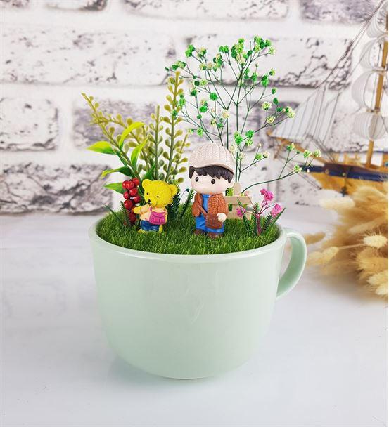 Okul Temalı Sevimli Çocuk Ve Ayı Minyatür Bahçe