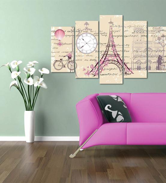 Paris Eyfel Temalı 5 Parça Saat'li Kanvas Tablo