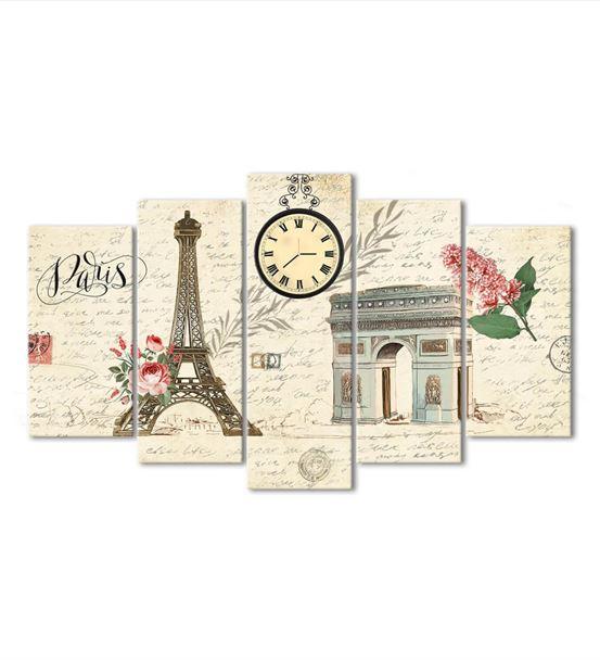 Paris Temalı 5 Parça Saat'li Kanvas Tablo