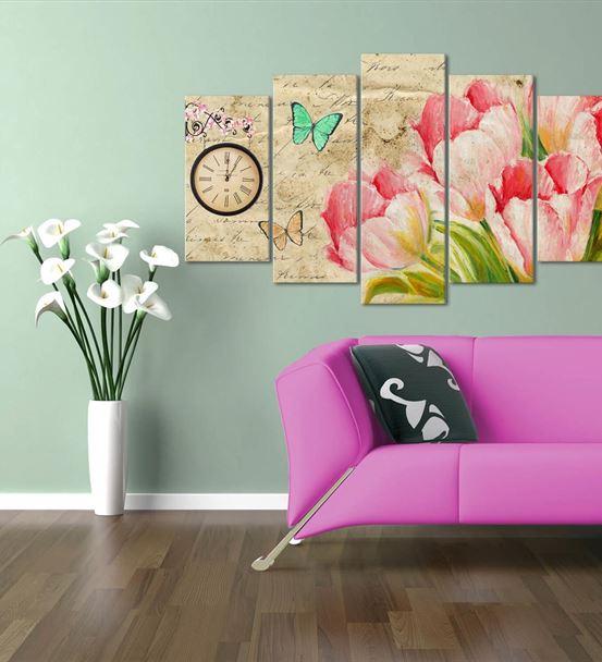Pembe Çiçekler 5 Parça Saat'li Kanvas Tablo
