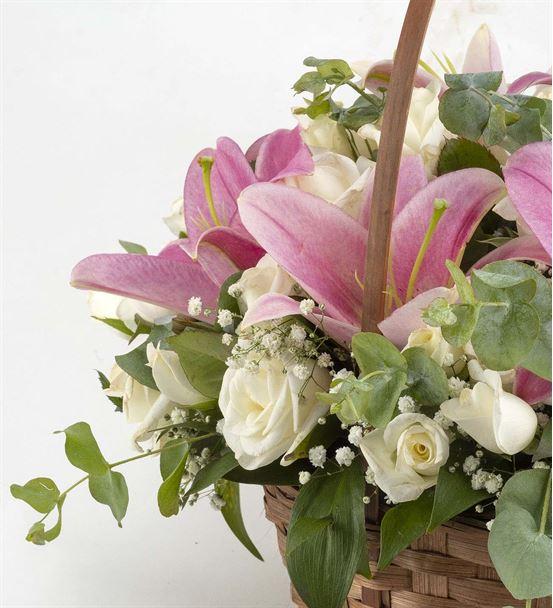 Pembe Sevgi Ayıcıklı Çiçek Sepeti