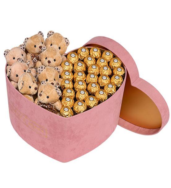 Pudra Kadife Kalp Kutuda Çikolata ve Ayıcıklar