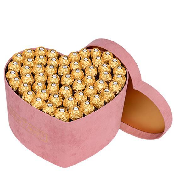 Pudra Kadife Kalp Kutuda Çikolatalar