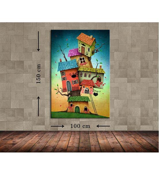 Renkli Evler Büyük Boy  Kanvas Tablo 100x150 cm