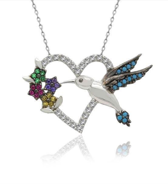Renkli Kalpli Arı Kuşu Gümüş Kolye
