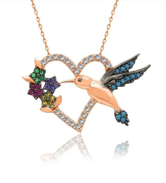 Renkli Kalpli Arı Kuşu Rose Gümüş Kolye