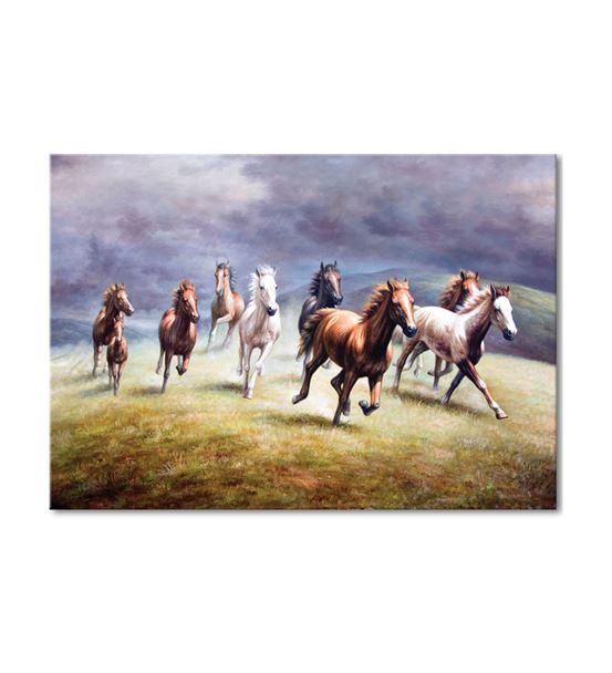 Renkli Koşan Atlar Kanvas Tablo 60x90cm
