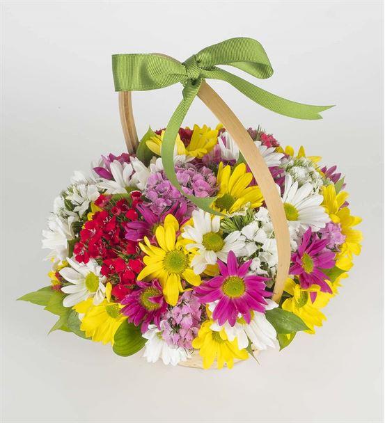 Renkli Papatyalar Çiçek Sepeti