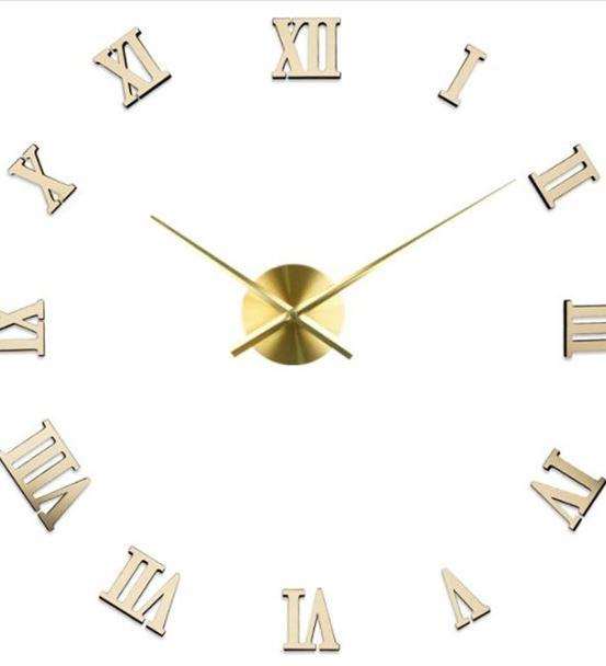 Romen Rakamlı 70 Cm'lik Altın Ayna Dev Duvar Saati