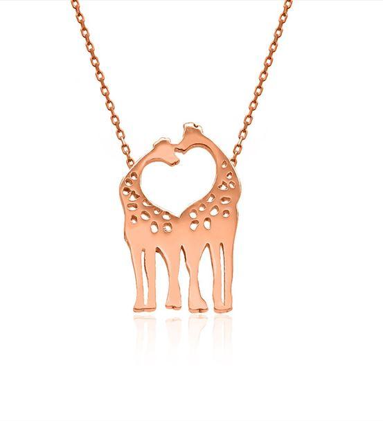 Rose Sade Çift Zürafa Gümüş Kolye