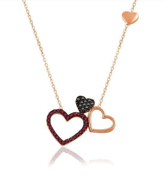 Ruby Taş Üçlü Kalp Gümüş Kolye