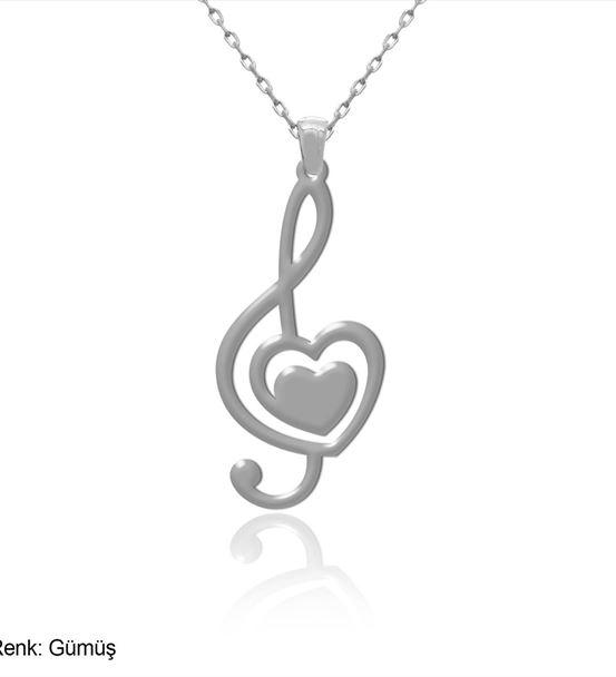 Sade Kalpli Sol Anahtarı Gümüş Kolye