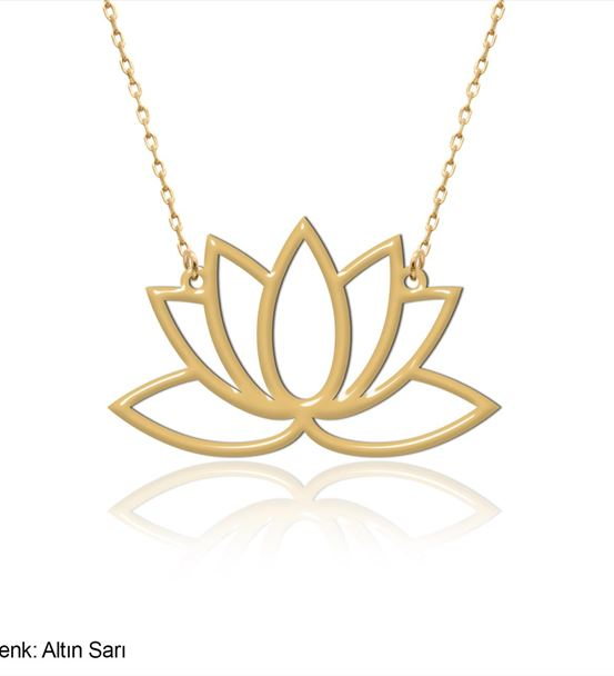 Sade Lotus Çiçeği Gümüş Kolye