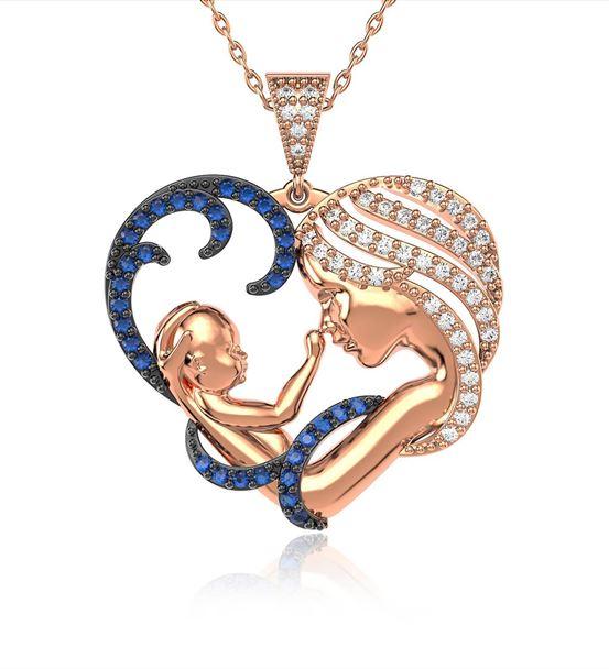 Safir Taşlı Kalpli Anne Bebek Rose Gümüş Kolye