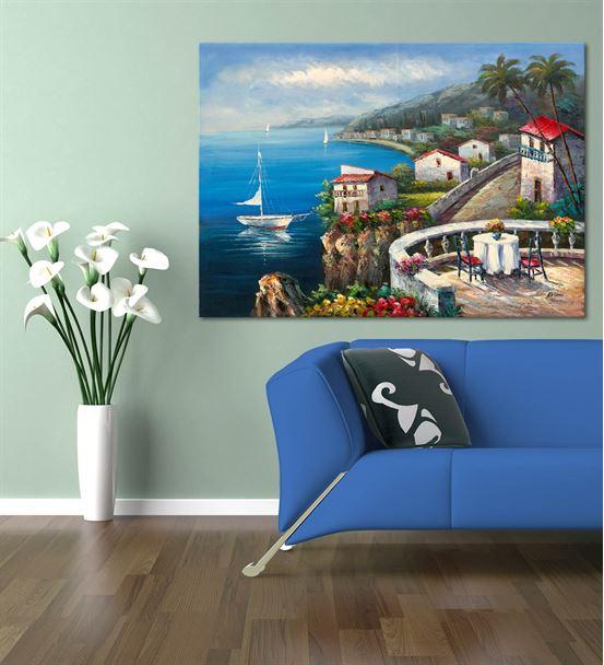 Sahil Kasabası Kanvas Tablo 50X70 cm
