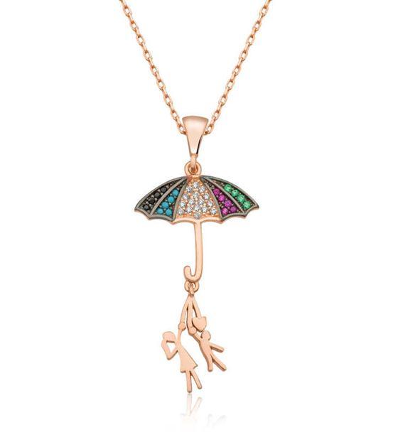 Şemsiye Tutan Aşıklar Tasarım 925 Ayar Gümüş Kolye
