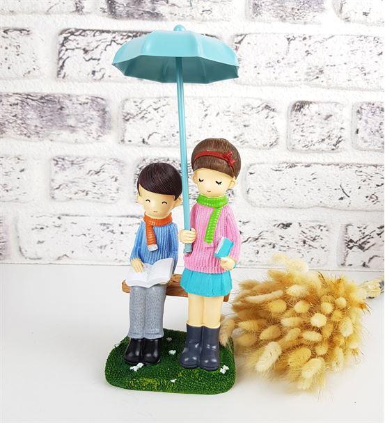 Şemsiyeli Romantik Sevimli Çiftler Biblo