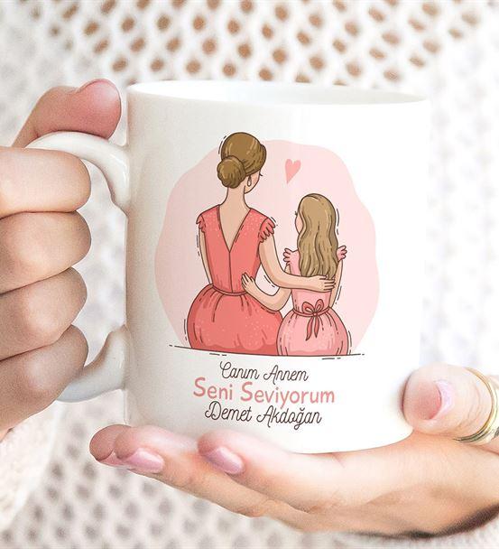 Seni Seviyorum Anne Kız Baskılı Kupa Bardak