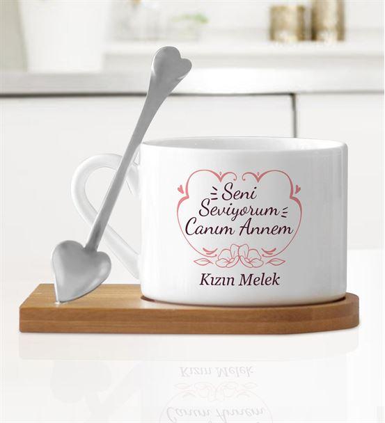 Seni Seviyorum Canım Annem Ahşap Altlıklı Kupa