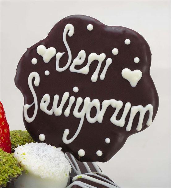 Seni Seviyorum Mesajlı Lezzetli Çilek Kek Buketi