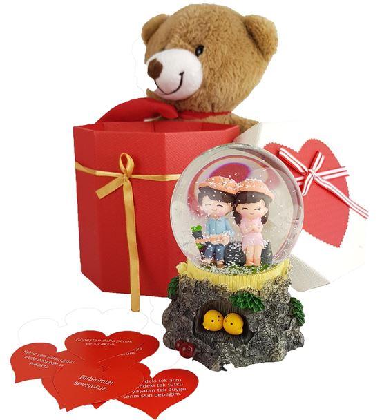 Sevgililer Günü Kar Küresi Ayıcık Hediye Sepeti