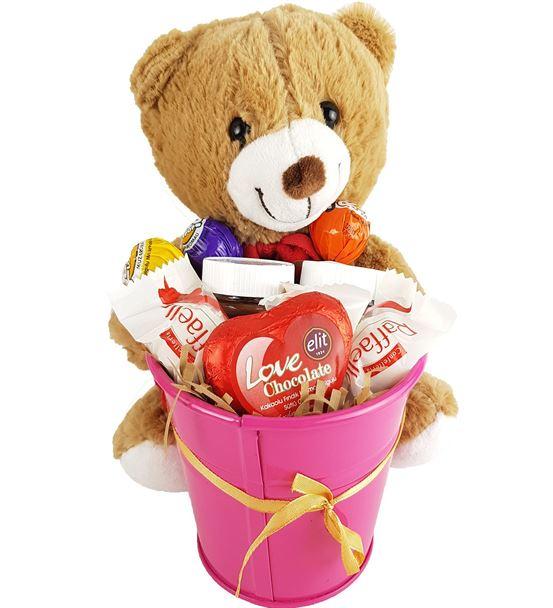 Sevgiliye Hediye Çikolata Kovası Hediye Sepeti