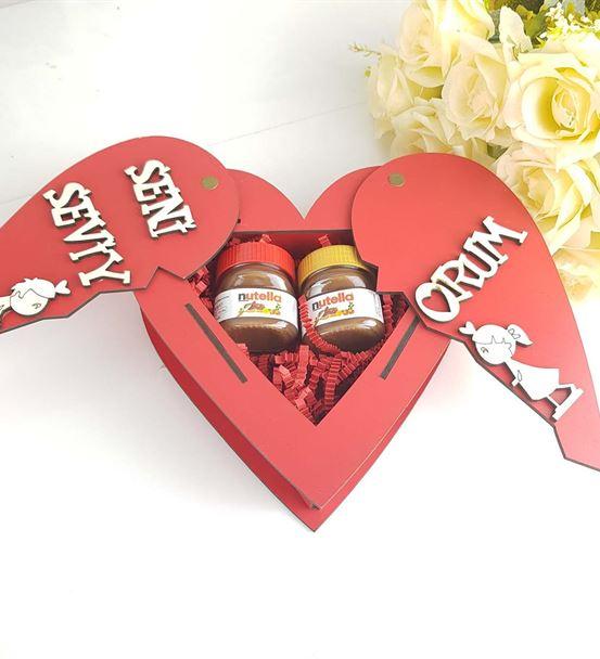 Sevgiliye Hediye Kalpli Kutuda Mini Nutella