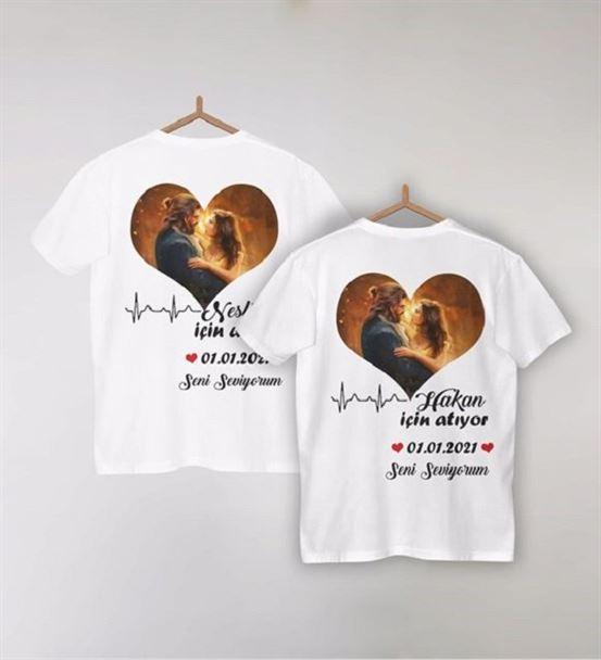 Sevgiliye Özel Fotoğraf ve İsim Baskılı Tişört
