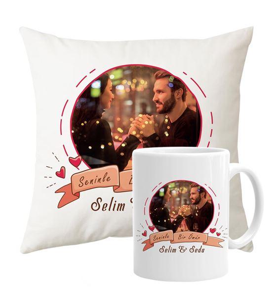 Sevgiliye Özel Fotoğraflı Yastık Kupa Set