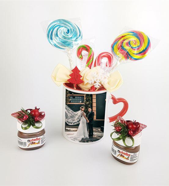 Sevgiliye Özel Şekerlemeli Kupa Nutella Yılbaşı Se
