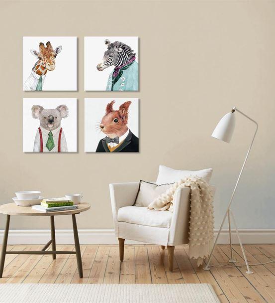 Sevimli Hayvanlar 4'lü Kombin Mdf Tablo