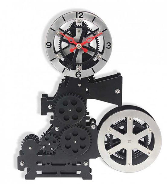 Sinemaskop Hareketli Dişli Masa Saati 27cm