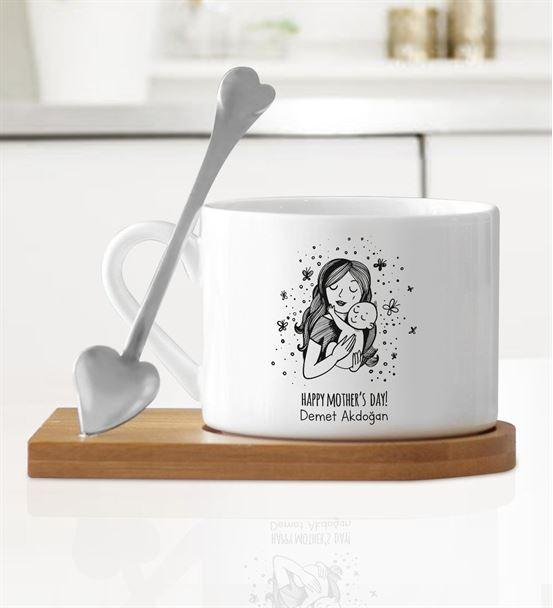 Siyah Beyaz Happy Mother's Day Ahşap Altlıklı Kupa