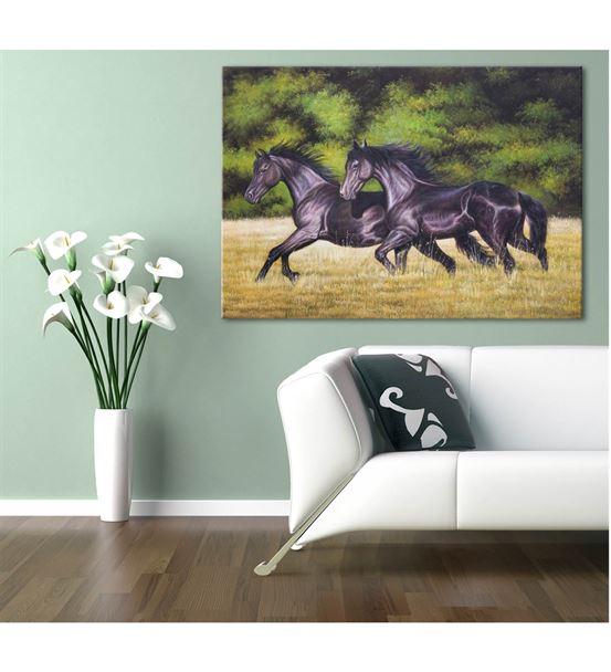 Siyah Koşan Atlar Kanvas Tablo 35x50cm