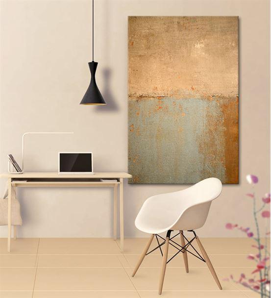 Soyut  Altın Mavi Kanvas Tablo 75x100cm