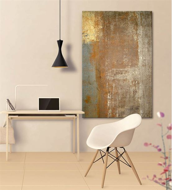 Soyut Altın Mavi Geçişli Kanvas Tablo 75x100cm