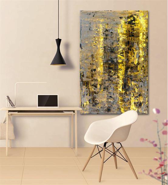 Soyut Altın Siyah Kanvas Tablo 60x90cm