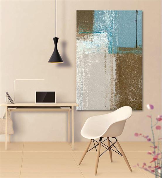 Soyut Beyaz Bronze Kanvas Tablo 60x90cm