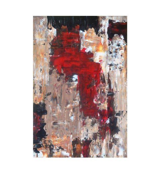 Soyut Kırmızı Siyah Kanvas Tablo 35x50cm