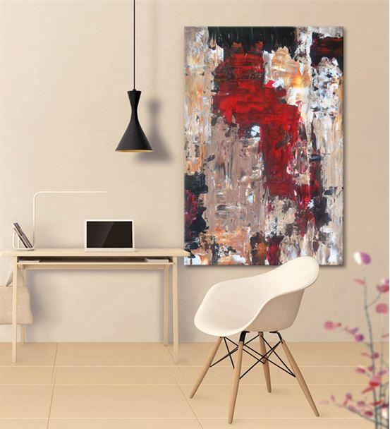 Soyut Kırmızı Siyah Kanvas Tablo 60x90cm