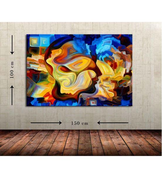 Soyut Lacivert Büyük Boy Kanvas Tablo 100x150 cm