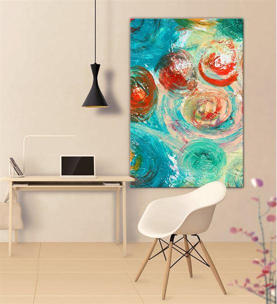Soyut Mavi Kırmızı Daireli 20x30 cm Kanvas Tablo