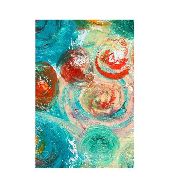 Soyut Mavi Kırmızı Daireli Kanvas Tablo 50x70cm