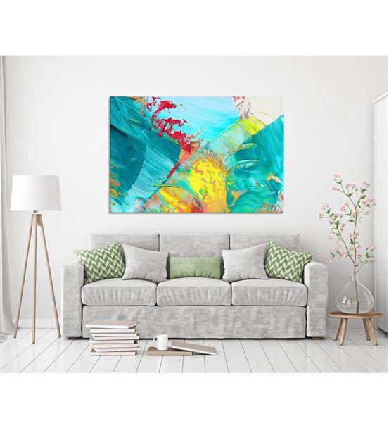 Soyut Mavi Sarı Kanvas Tablo 50x70cm