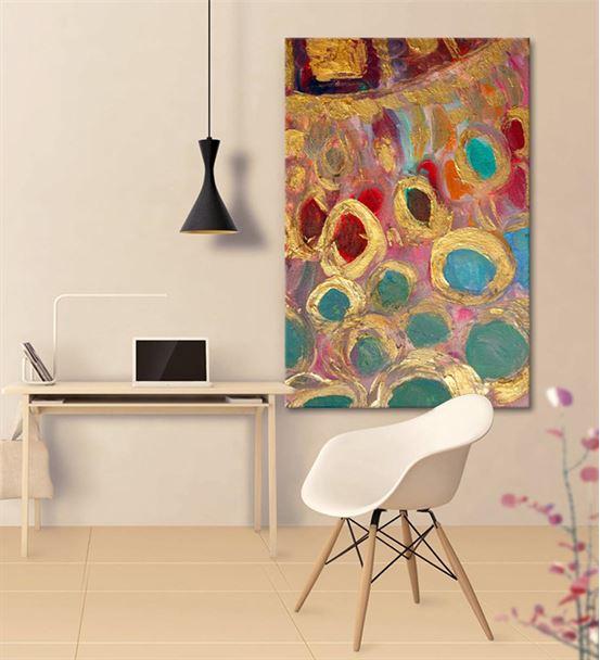 Soyut Rengarenk Daireli Kanvas Tablo 35x50cm