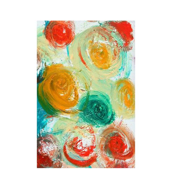 Soyut Renkli Daireli 20x30 cm Kanvas Tablo