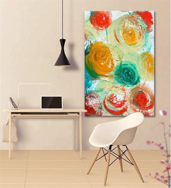 Soyut Renkli Daireli Kanvas Tablo 75x100cm