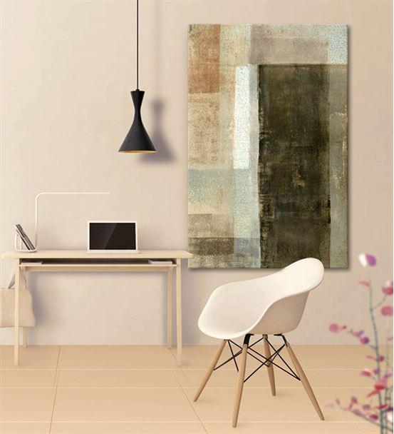 Soyut Yeşil Dikey Kanvas Tablo 35x50cm